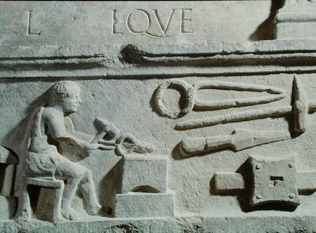 XIR125456 Relief depicting a blacksmith's shop and tools (stone) by Roman, (3rd century BC) stone Museo Nazionale d'Abruzzo, Aquila, Italy Giraudon out of copyright
